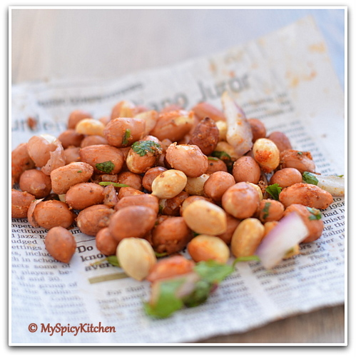 Microwave roasted spicy peanuts, peanut salad, veinchina pallilu,