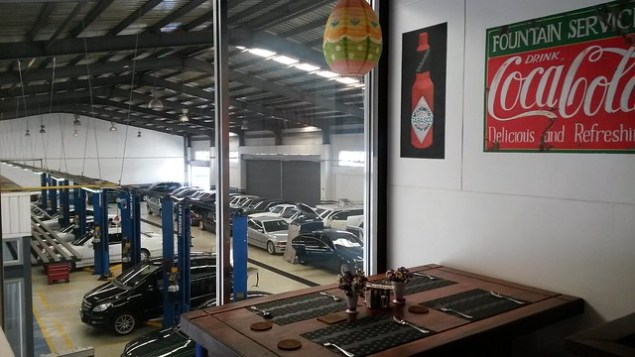View of the garage