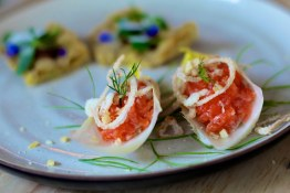 Salmon Belly on Endive with Crispy Shallots, Dill, Pop Rocks | Blacktail Florist