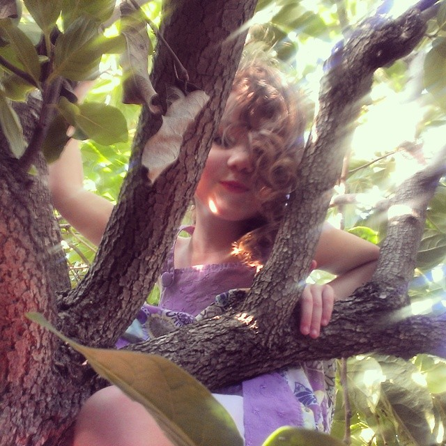 She climbs a tree, and scrapes her knee, her dress has got a tear. She waltzes on her way to class, and whistles on the stair.  #treeclimber #homeschool #momsoninstagram #playmatters