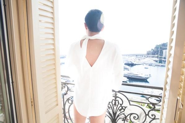 White Balenciaga top worn by Bryanboy in Monaco