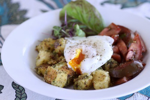 "polenta ""hash"" with tomato and egg"