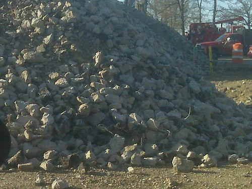 Close-up view of the big pile of rocks at the end of Monona Drive