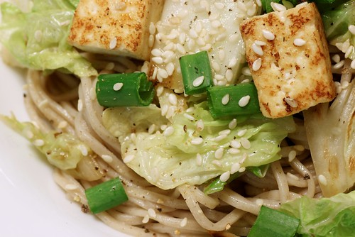 soba with napa cabbage and tofu