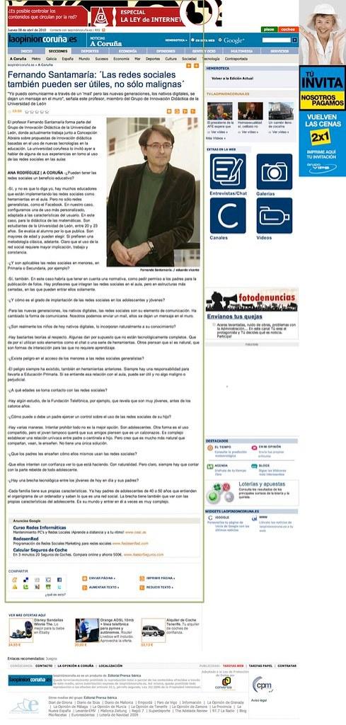 Fernando Santamaría: ´Las redes sociales también pueden ser útiles, no sólo malignas´ - A Coruña - La Opinión A Coruña