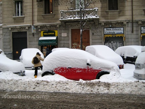 Jumping through snow to get cigarettes, Milan, Italy, December 22, 2009