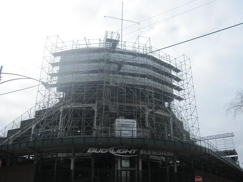 Wrigley Field Work: Scaffolding Behind the Bleachers, Sheffield and Waveland