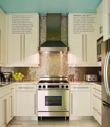 blue ceiling kitchen