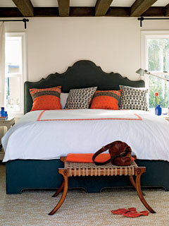 orange black bedroom coastal living