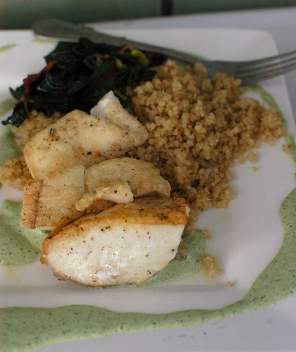 first halibut of the season, with sorrel sauce