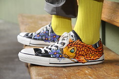 Hand painted Koi fish shoes