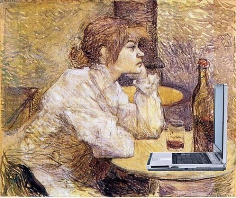 Suzanne Valadon Blogging, after Lautrec
