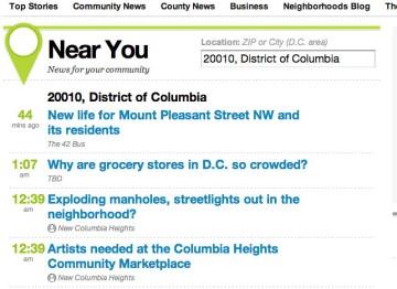 TBD.com's Near You zip code news filter