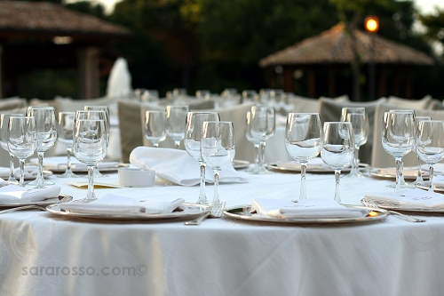 Tables set for a reception at a Pugliese wedding in Abruzzo