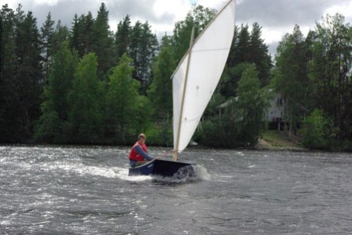 Perttu Korhonen sailing his OzRacer in Finland