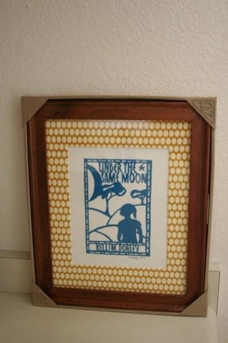 Cover art, framed
