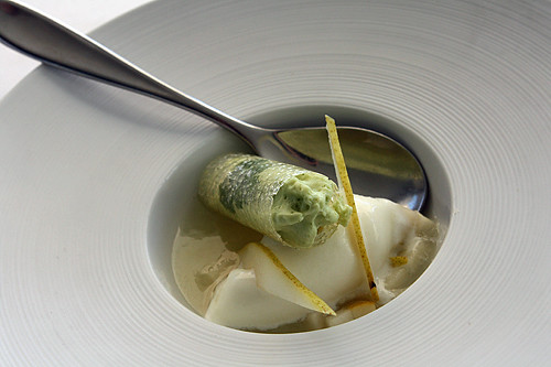cilantro cream, yogurt ice cream, pear jelly