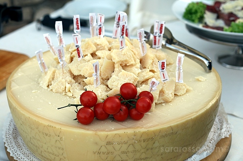 Grana Padana cheese at an Italian wedding