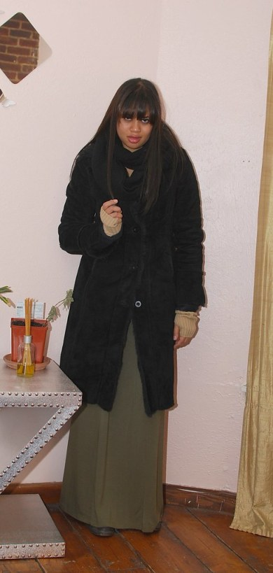 shearling coat long skirt outfit