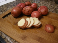 Slicing up the potatoes