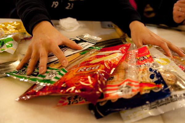 Asian snack food tasting