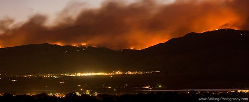 Burning Foothills Above Boulder Fourmile Wildfire Panorama