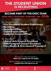 Happy Monday Regent's! ☀️ What a lovely day to become an executive of the student union. Exciting news: The Student Union is recruiting for the Spring semester, with positions starting January 2018. Message us for any questions regarding the position
