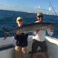 Capt. Manny and Chris with another nice Wahoo off Miami Beach on Spellbound.