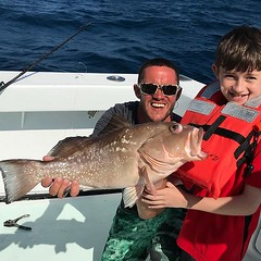 First Fish… nice Red Grouper for our young angler. Quick Picture and a good release… see you again in May !! #deepseafishingmiami #Spellbound