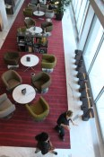 Looking down on the lobby bar area | Oru at the Fairmont Pacific Rim
