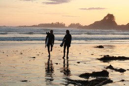 Surfers return at sunset
