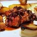 Roast flank steak and sweetbread | Potato fondants, charred onion, fried peppers