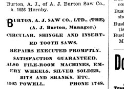 AJ Burton Saw Works advertisement from 1905 (1905 City Directory)