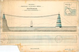 Instead of the Lions' Gate Bridge imagine this - proposed suspension bridge for foot passengers only, 1909. (COV Archives – LEG1709.1)