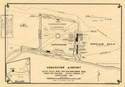 Map shows a proposed plan for the design of Vancouver Airport at Spanish Banks, along with surrounding gardens, a stadium, parks and beaches, Feb. 8, 1928. (COV Archives- Map 377)