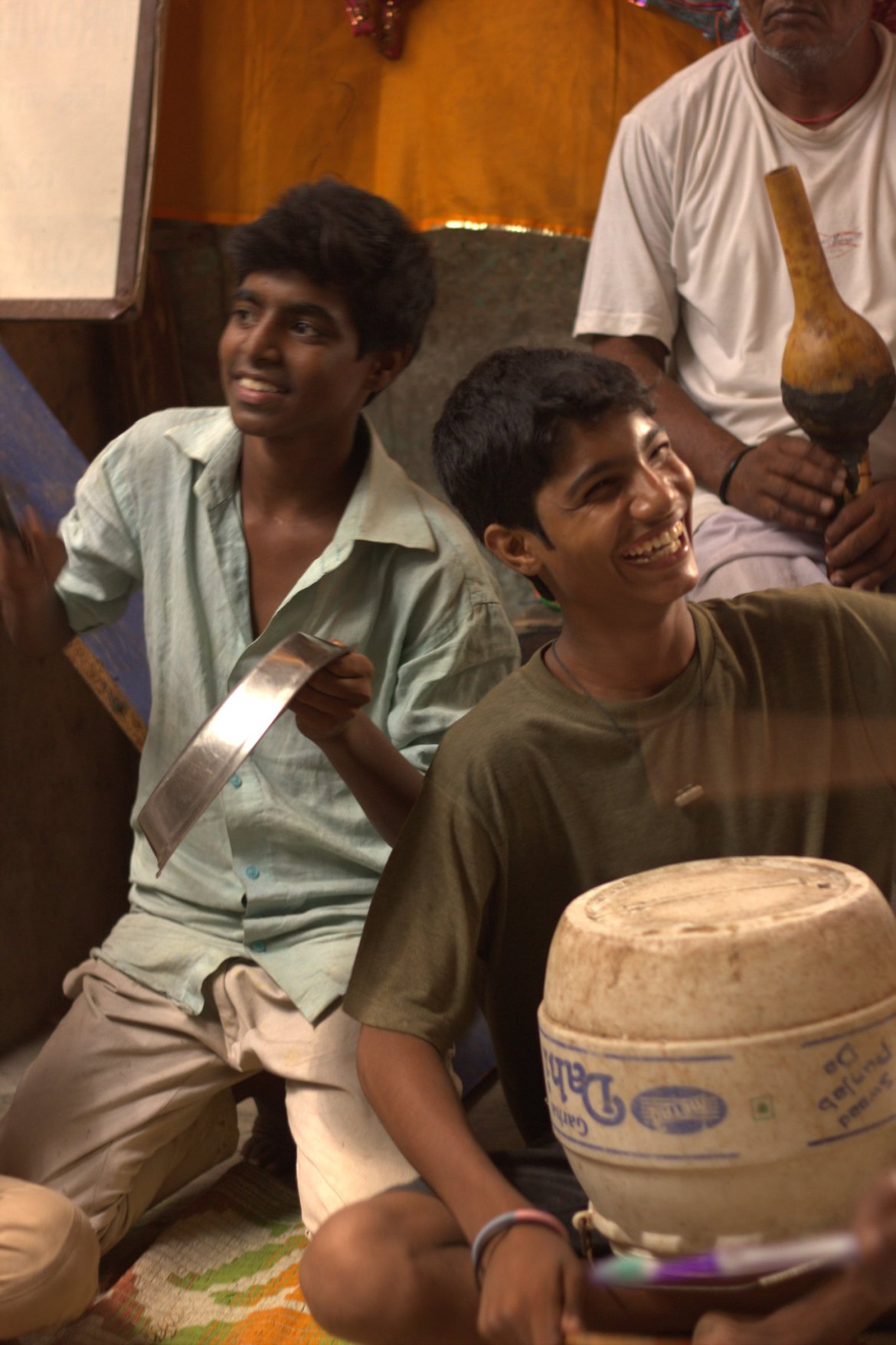 A band of young boys practising music in Kathputli Colony