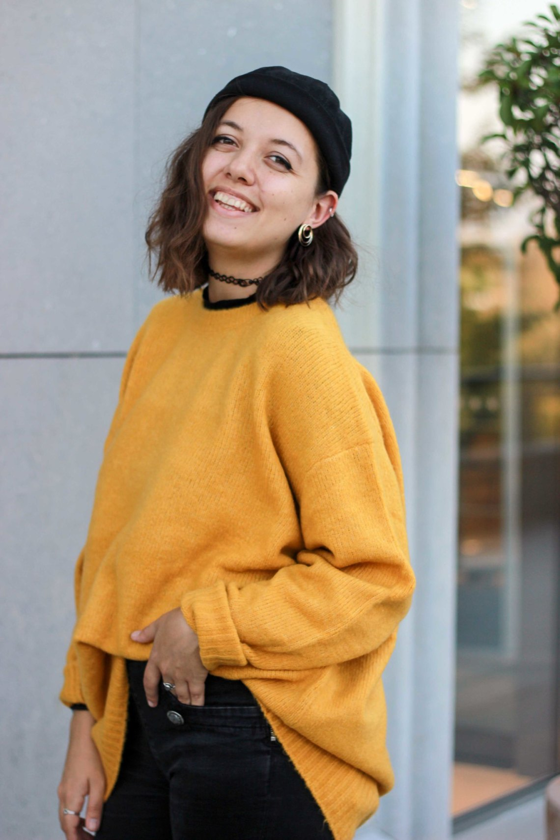 Pull jaune moutarde loose