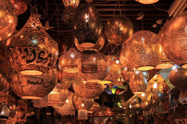 beautiful chandeliers at khan el khalili