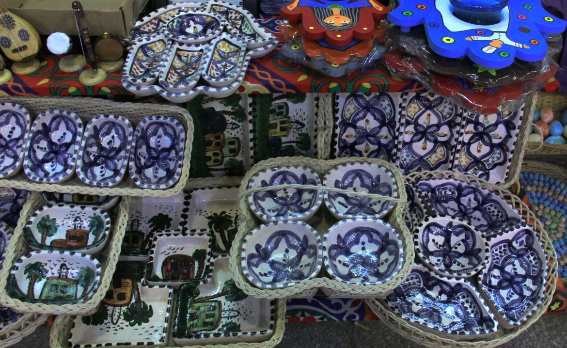 Beautiful hand painted pottery for sale at khan el khalili market