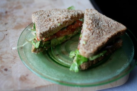 ALT sandwich plus sprouts and cheddar