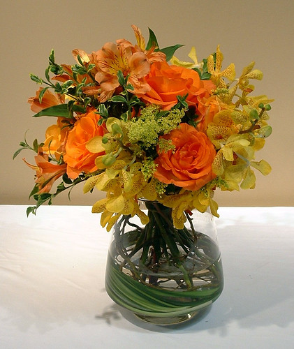 Pyramid Vase with Roses, Orchids and Alstroemeria