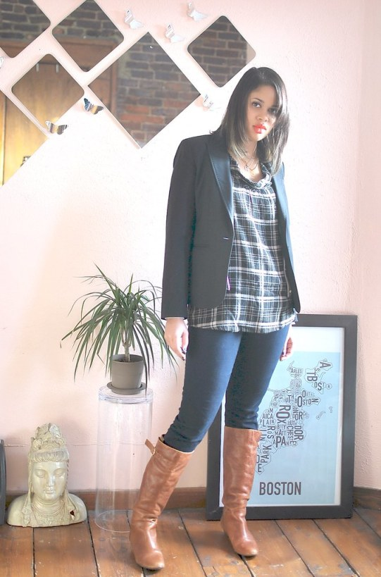 casual outfit gap blazer steve madden boots