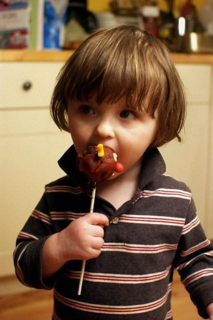 lu eats a Rudolph cake pop