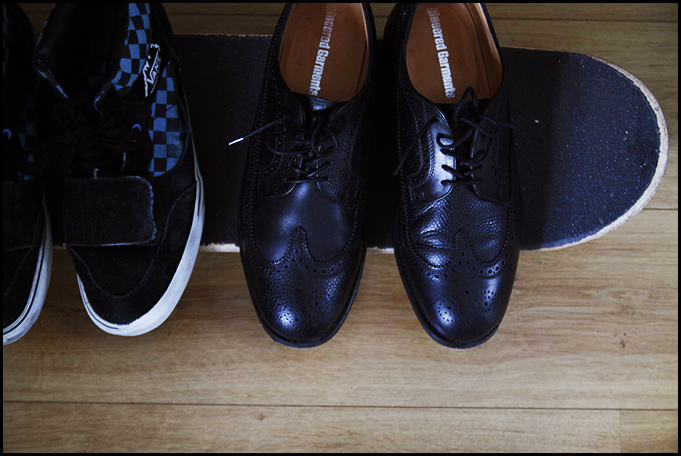 2011_02 Essentials at my Home in Dublin - My skateboard, Vans and Engineered Garments x Mark McNairy Brogues
