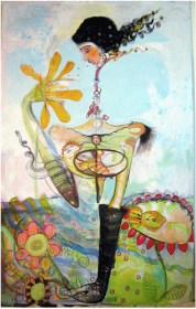 """Julie Ross, """"Party of One,"""" 2010. Acrylic on canvas."""