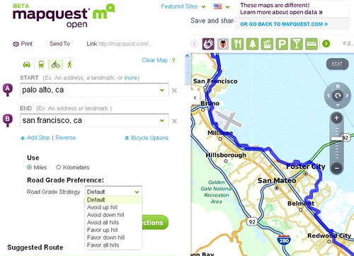 Mapquest adds bike directions