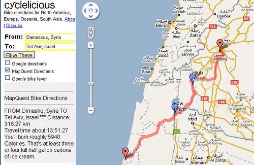 Bike directions: Damascus to Tel Aviv