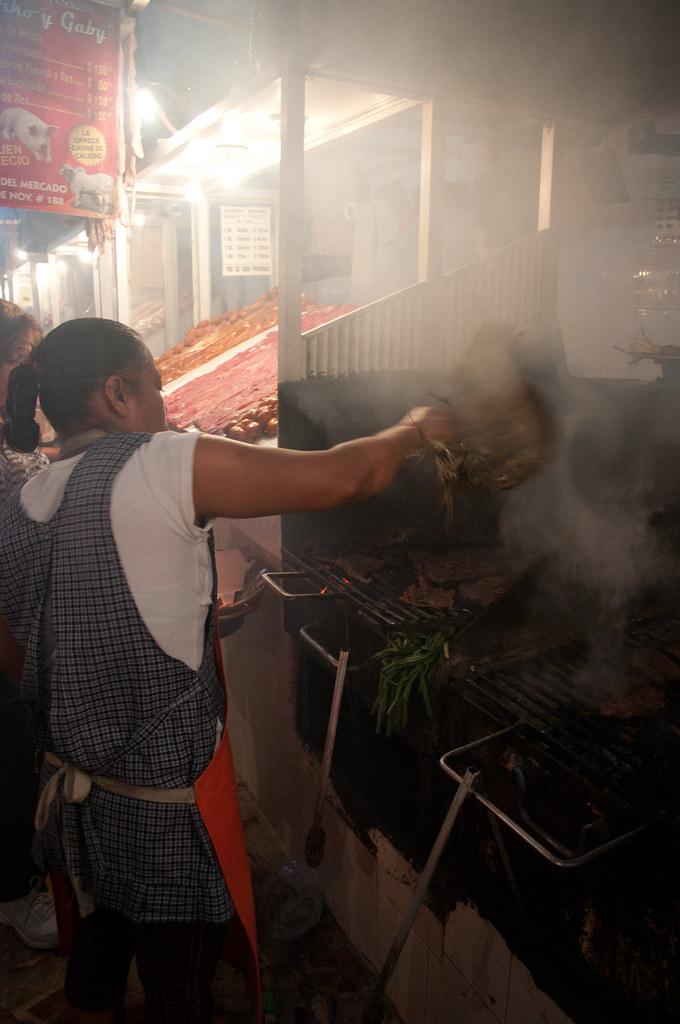 Grill employee in Oaxaca Market