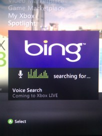 Bing Voice Search on xBox