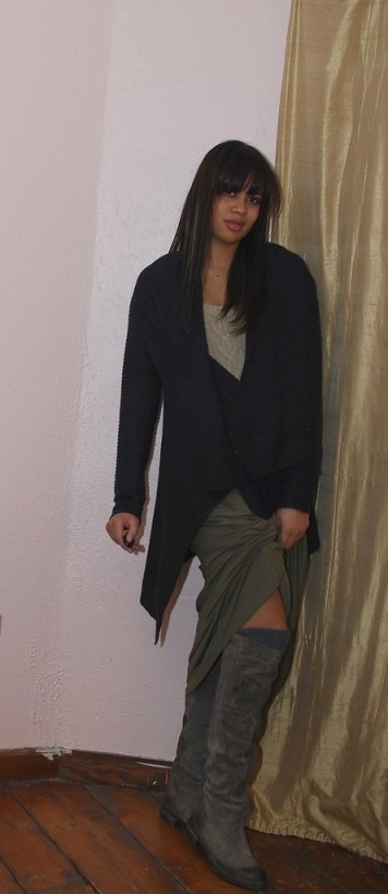h&m maxi skirt flat suede boots nine west